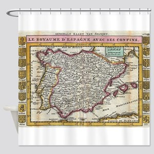 Vintage Map of Spain and Portugal ( Shower Curtain