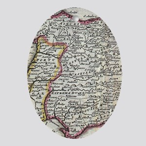 Vintage Map of Spain and Portugal (1 Oval Ornament