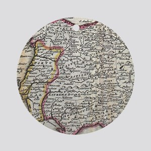 Vintage Map of Spain and Portugal ( Round Ornament