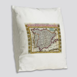 Vintage Map of Spain and Portu Burlap Throw Pillow