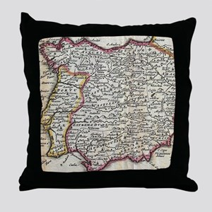 Vintage Map of Spain and Portugal (17 Throw Pillow