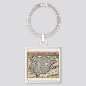 Vintage Map of Spain and Portugal (1747) Keychains