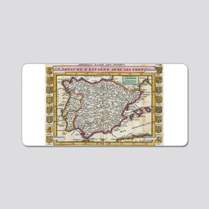 Vintage Map of Spain and Po Aluminum License Plate
