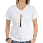Wooden Propeller Schematic Women's V-Neck T-Shirt