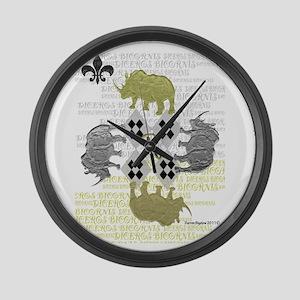 rhino squarewhite Large Wall Clock
