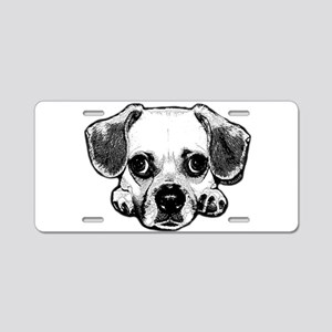 Black & White Puggle Aluminum License Plate