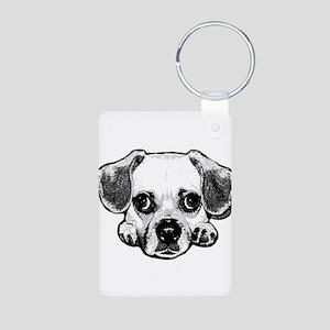 Black & White Puggle Aluminum Photo Keychain