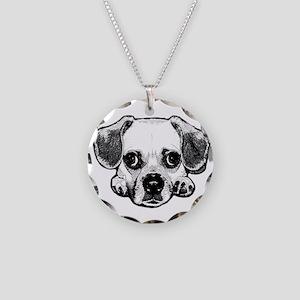 Black & White Puggle Necklace Circle Charm