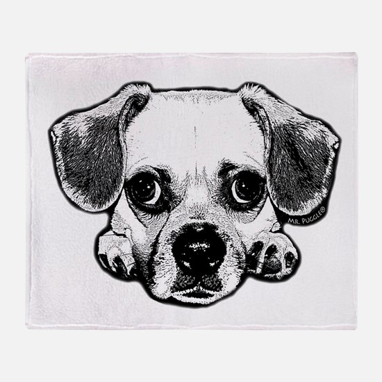 Black & White Puggle Throw Blanket