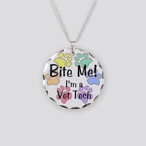 Bite Me I'm Vet Tech Necklace Circle Charm