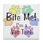 Tile Coaster - Bite Me I'm A Vet Tech Pawprints