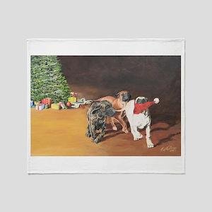 Mastiff Puppy Christmas Throw Blanket