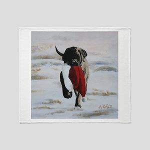 Christmas Mastiff Puppy Throw Blanket
