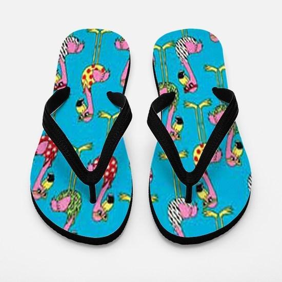 Cute Flamingos Flip Flops