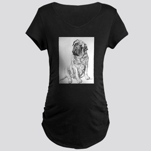 Mastiff Sitting Maternity Dark T-Shirt