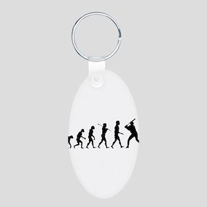 Baseball Evolution Aluminum Oval Keychain