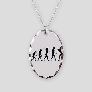 Baseball Evolution Necklace Oval Charm