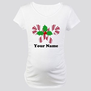 Personalized Candy Canes Maternity T-Shirt