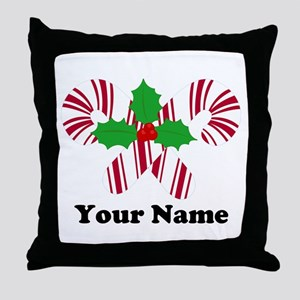 Personalized Candy Canes Throw Pillow