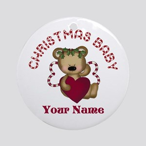 Personalized Christmas Baby Ornament (Round)