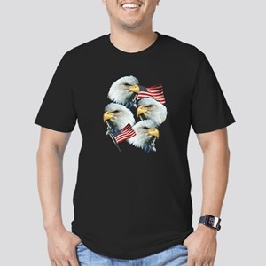 Eagles and Flags Men's Fitted T-Shirt (dark)