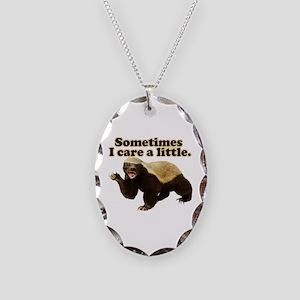 Honey Badger Sometimes I Care Necklace Oval Charm