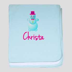 Christa the snow woman baby blanket