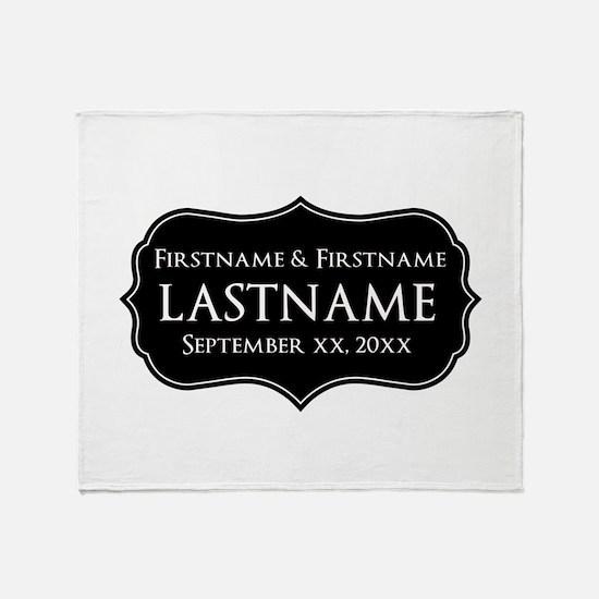 Personalized Wedding Nameplat Throw Blanket