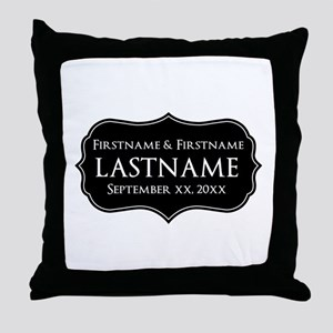 Personalized Wedding Nameplat Throw Pillow
