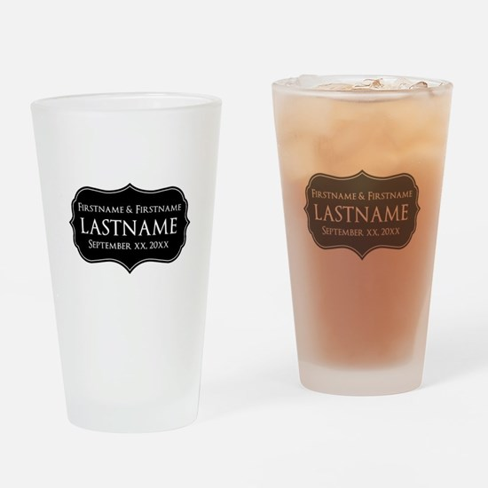 Personalized Wedding Nameplat Drinking Glass