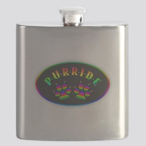 Gay Pride Cat Paw Oval Flask