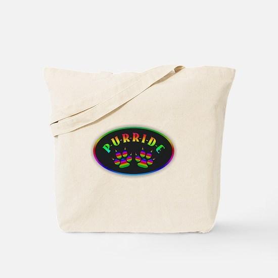 Gay Pride Cat Paw Oval Tote Bag