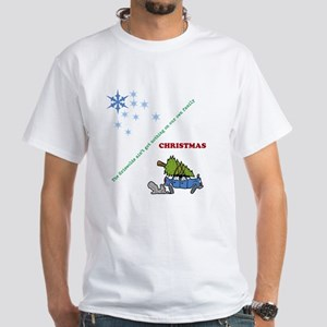 Christmas family tree cutting White T-Shirt