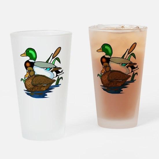 Mallard Ducks Drinking Glass