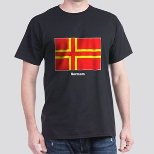 Norman Ancestry Flag (Front) Black T-Shirt