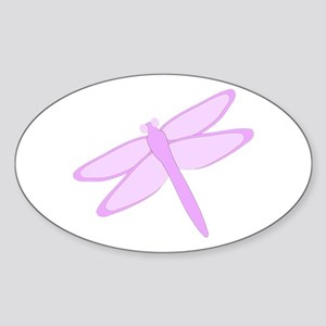 Purple Dragonfly Design Sticker (Oval)