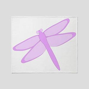 Purple Dragonfly Design Throw Blanket