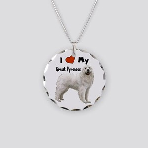 I Love My Great Pyrenees Necklace Circle Charm