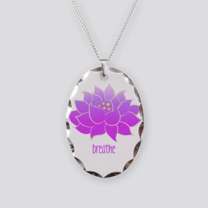 Breathe Lotus Necklace Oval Charm