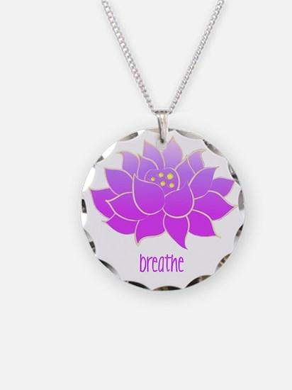 Breathe Lotus Necklace Circle Charm