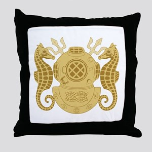 Navy Diving Officer Throw Pillow