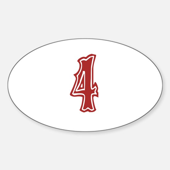 Red Sox White #4 Sticker (Oval)