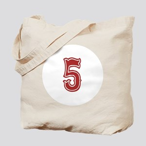 Red Sox White #5 Tote Bag