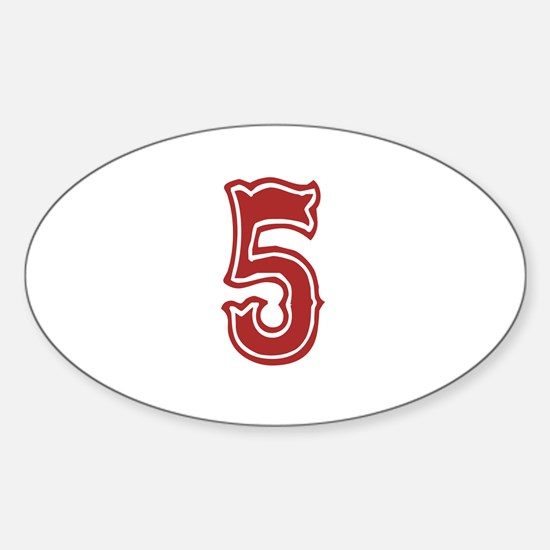 Red Sox White #5 Sticker (Oval)