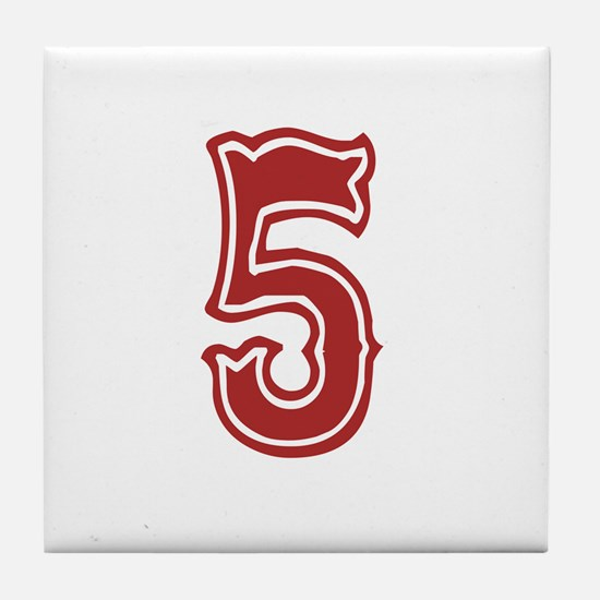 Red Sox White #5 Tile Coaster
