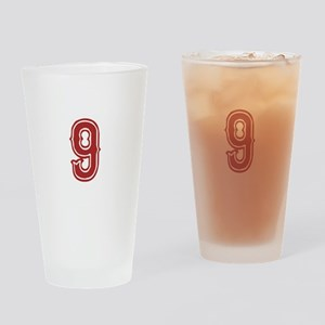 Red Sox White #9 Drinking Glass