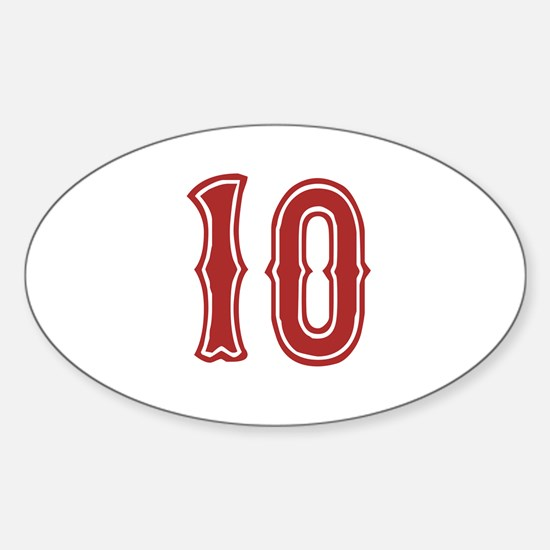 Red Sox White #10 Sticker (Oval)