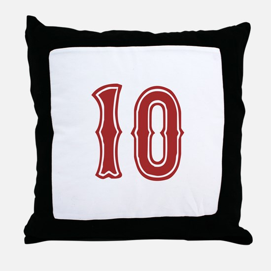Red Sox White #10 Throw Pillow