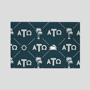 Alpha Tau Omega Pattern Blue Rectangle Magnet