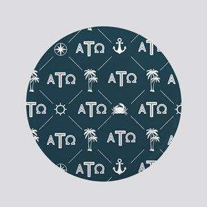Alpha Tau Omega Pattern Blue Button